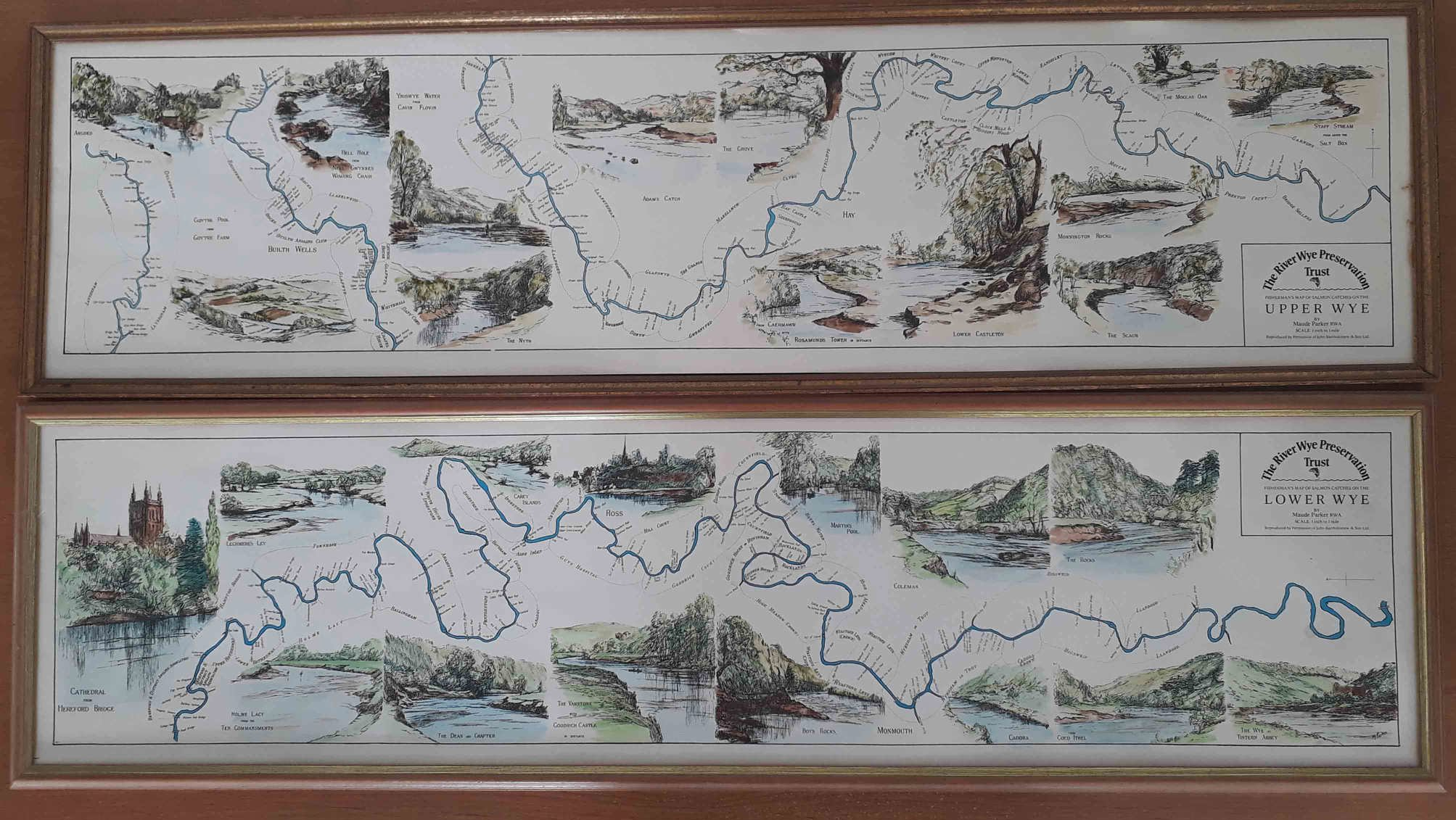 Maps of the Wye, showing historic beats and pool names are now available via the Fishing Passport website