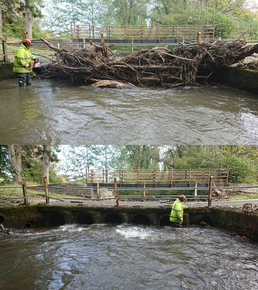 A pipe bridge on the Duhonw, an upper Wye tributary, that we found had become blocked with debris following the recent floods. Unblocking this reopened the miles of salmon and trout spawning habitat upstream.