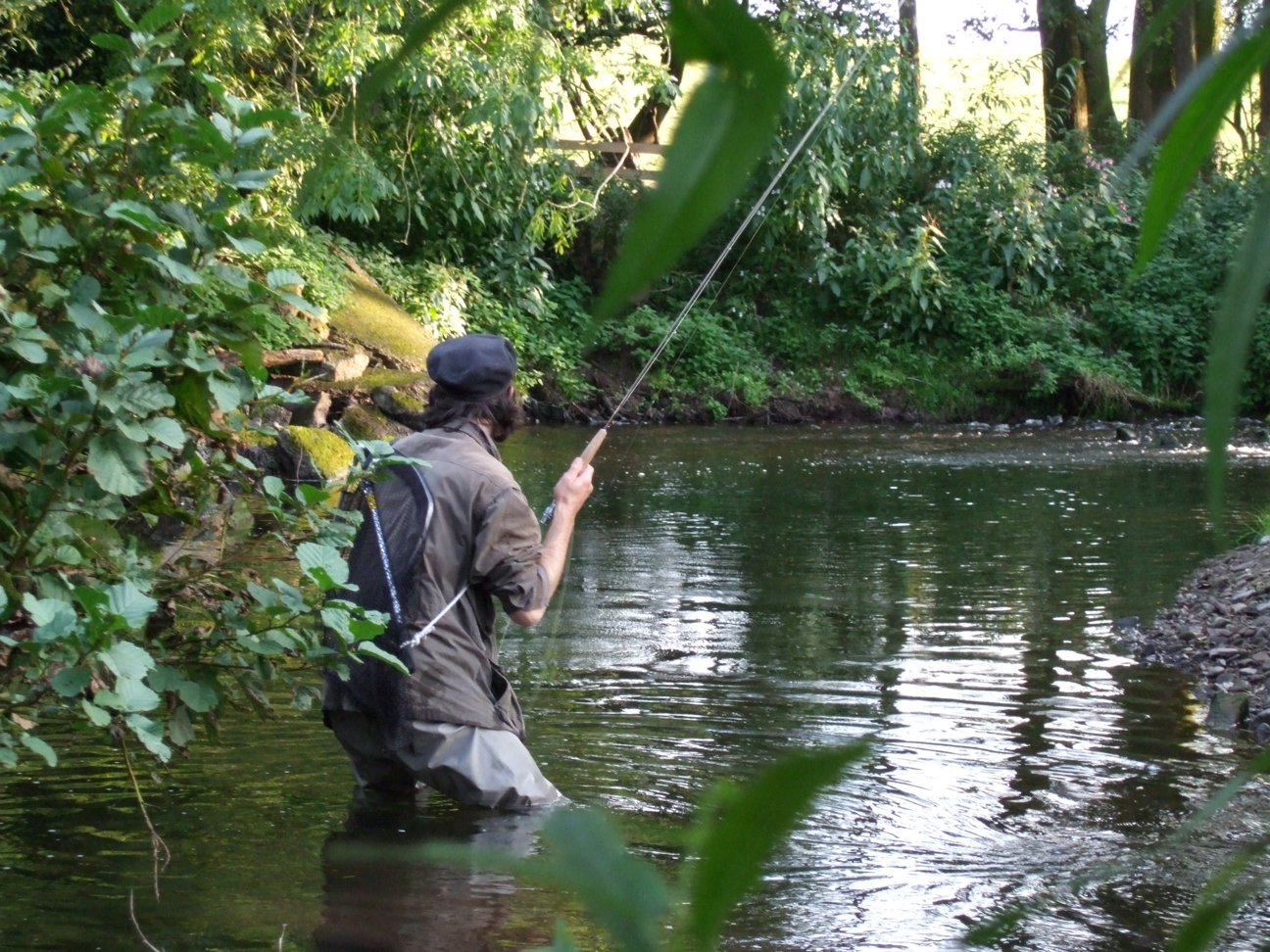 Trout fishing on the Llynfi Dulas, one of the streams to benefit from habitat restoration in pHish