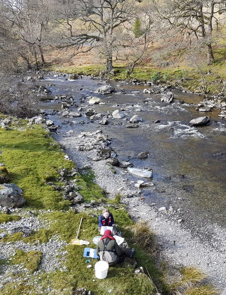 Foundation monitoring staff undertaking invertebrate surveys in the Elan in March 2019