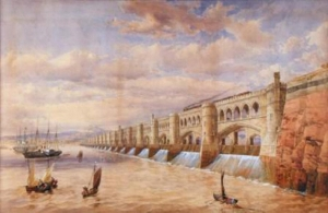 The engineer Thomas Fulljames's 1849 impression of a barrage at the location of the first Severn Bridge.
