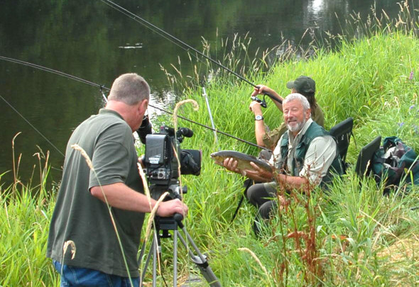 John Wilson being filmed for a TV show on the middle Wye in 2006