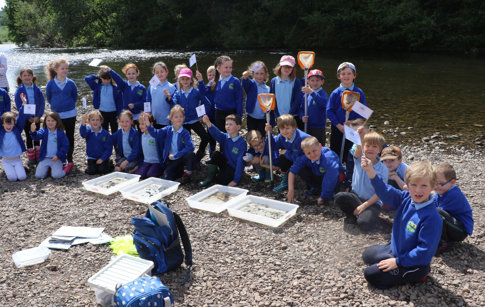 Pupils from Llanfoist Fawr Primary School at the Freshwater Friends Appeal opening