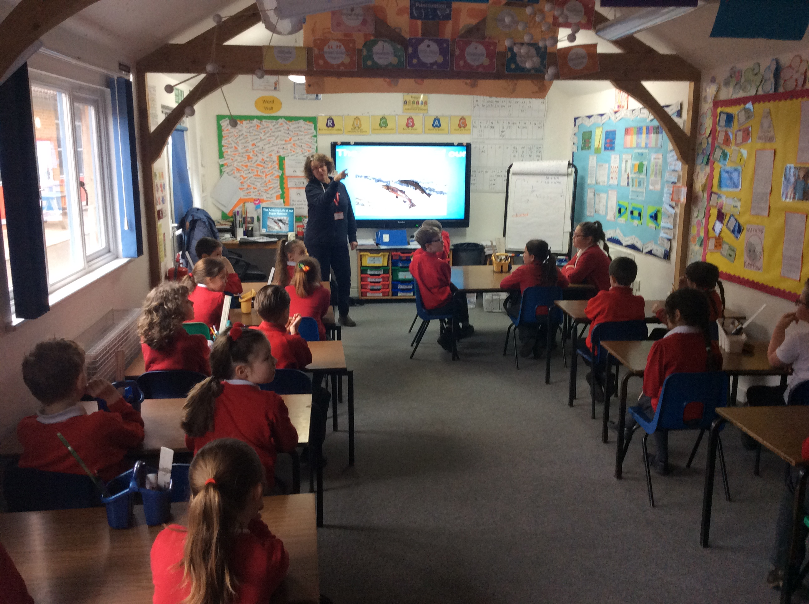 Colette Mooney, WUFs Head of Education, teaching primary school children about salmon and their struggle to survive in our rivers and streams.
