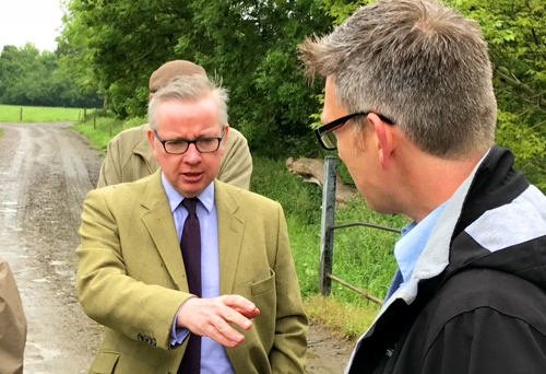 Environment Ministed Michael Gove discussing farm practices and rivers with WUF CEO Simon Evans